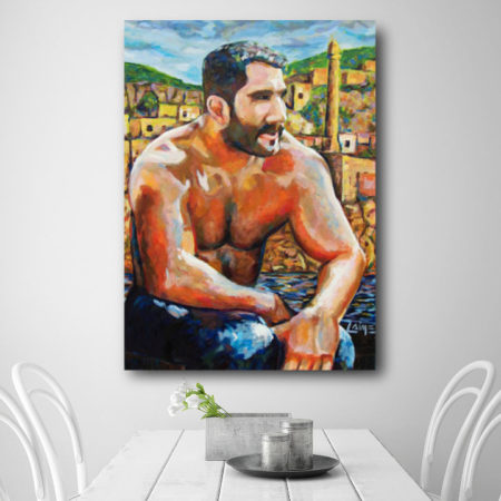 Wrestler painting in a white dining room