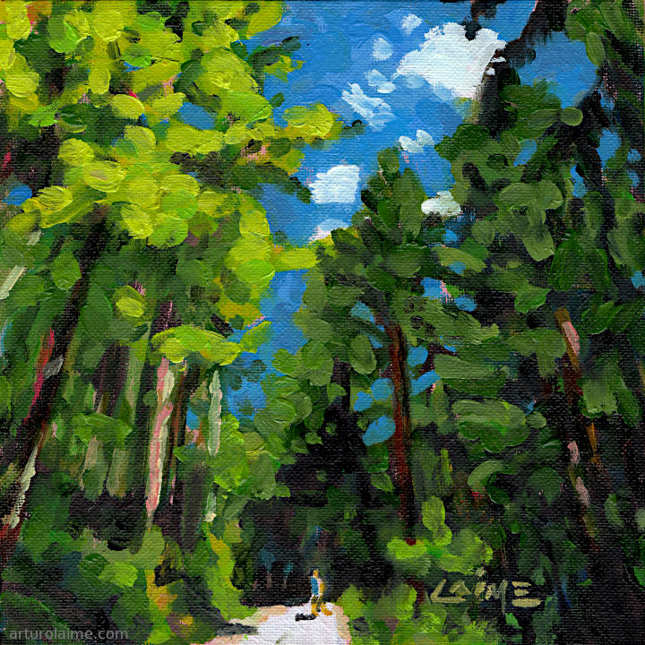 Hiker in the woods by Arturo Laime