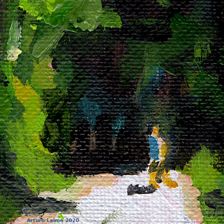 Hiker in the woods detail01