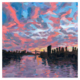 Main River at dusk oil painting on panel