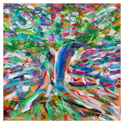 Apple tree artwork on paper