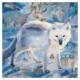 Arctic fox mixed media artwork