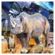 Black rhino mixed media artwork