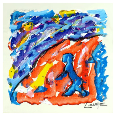 Climbing the hill artwork on paper