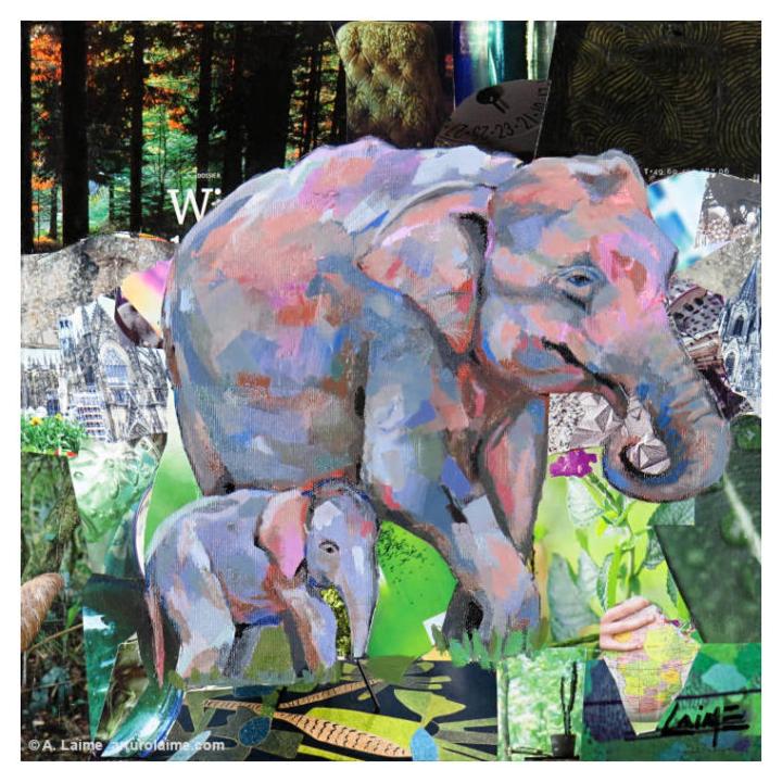 Sumatran elephants mixed media artwork