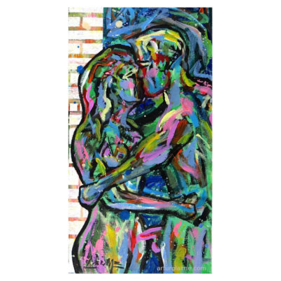 couple of lovers acrylic painting on canvas