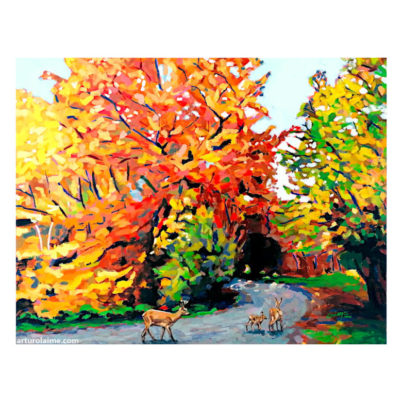 Deer on the path artwork